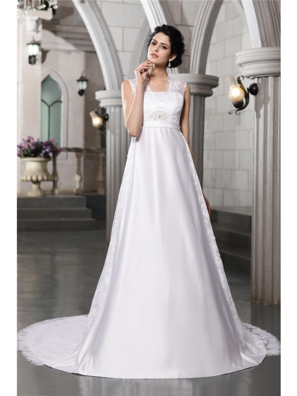 Shining A-Line Straps Cut Satin Long Wedding Dresses With Lace