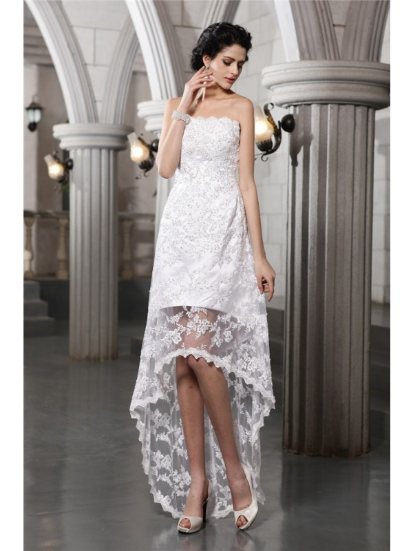 Attractive Sheath Strapless Cut Lace High Low Wedding Dresses With Beading