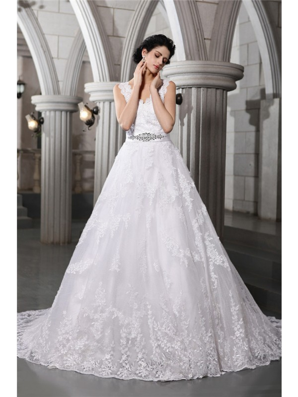 Bright A-Line V-neck Cut Organza Long Wedding Dresses With Beading