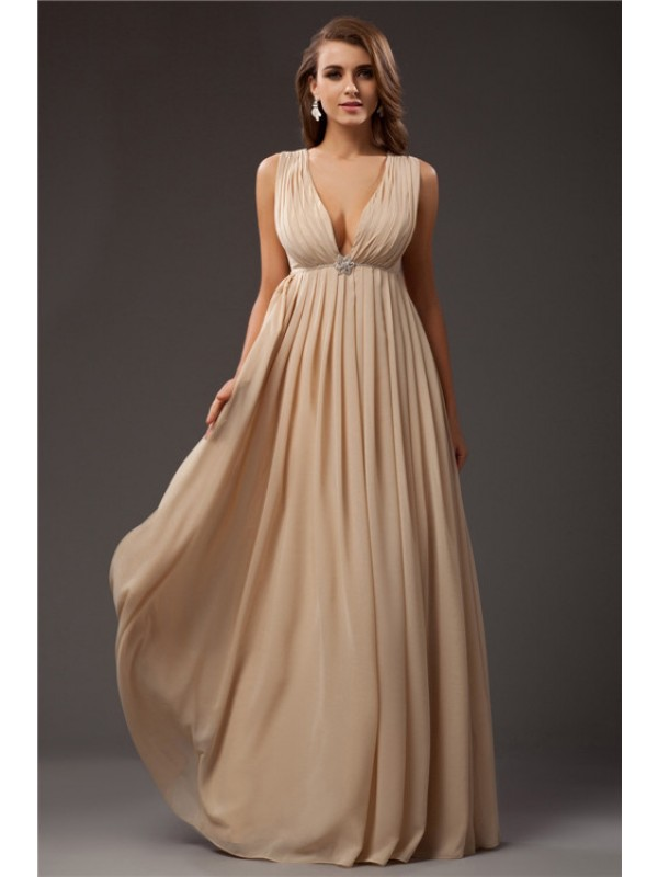 Stylish A-Line V-neck Cut Chiffon Long Dresses With Beading