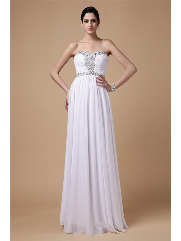 Glamorous Sheath Strapless Cut Chiffon Long Dresses With Pleats