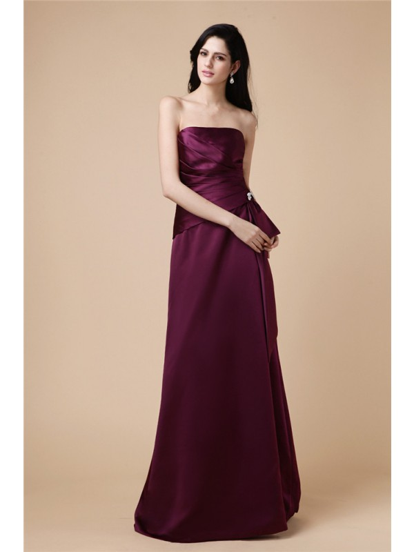 Sweet A-Line Strapless Cut Satin Long Dresses With Pleats