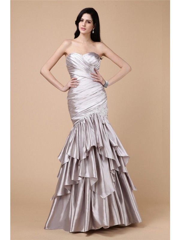 Stylish Mermaid Strapless Cut Elastic Woven Satin Long Dresses With Pleats