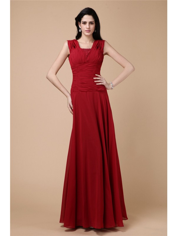 Glamorous Sheath Straps Cut Chiffon Long Dresses With Pleats