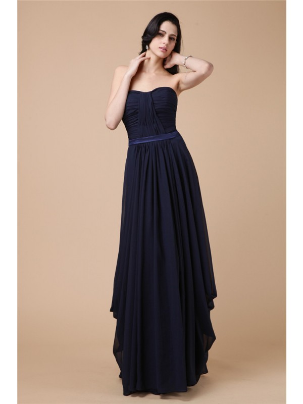 Shining Sheath Strapless Cut Chiffon Long Dresses With Pleats