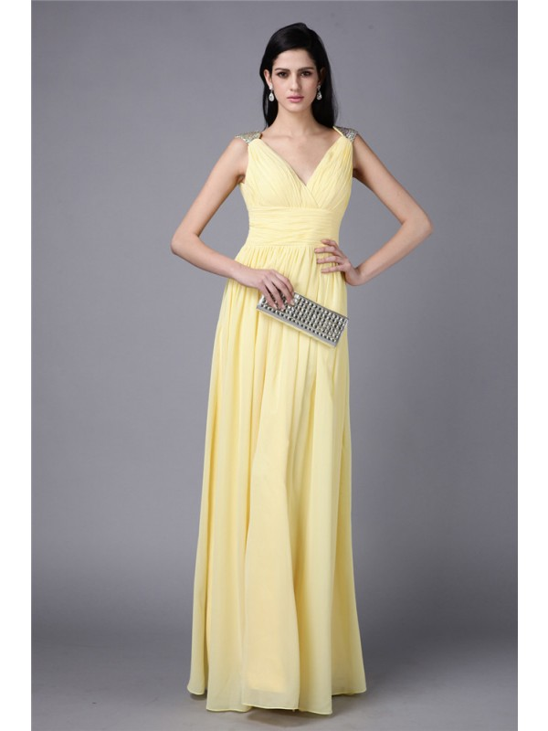 Gorgeous Sheath V-neck Cut Chiffon Long Dresses With Beading