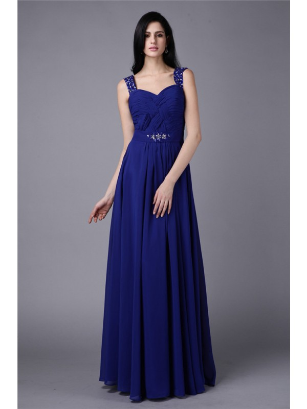 Nice A-Line Straps Cut Chiffon Long Dresses With Beading