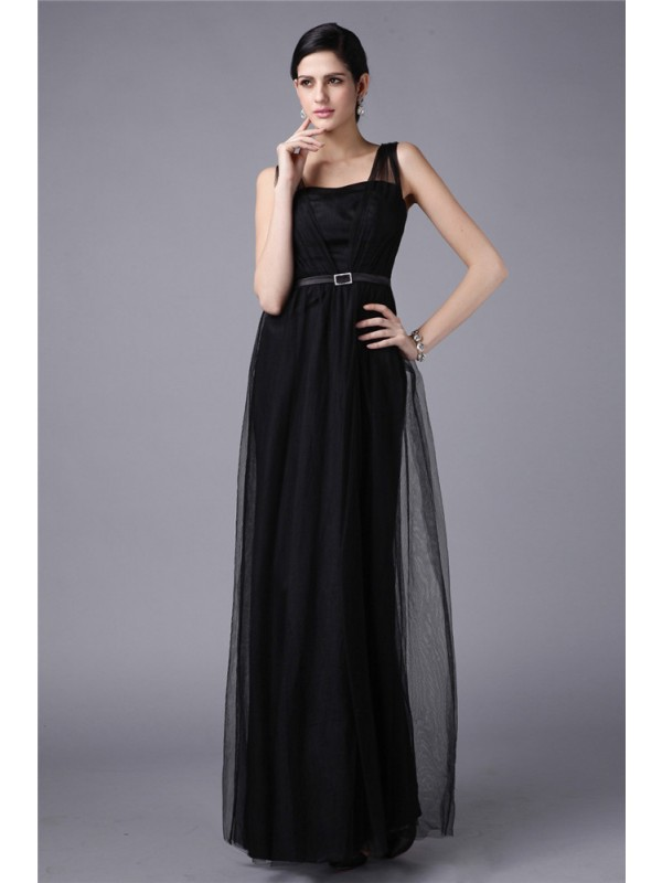 Glamorous Sheath Straps Cut Net Long Dresses With Sash/Ribbon/Belt