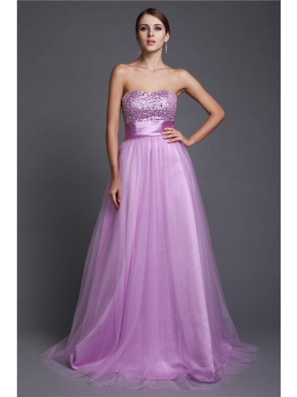 Graceful A-Line Strapless Cut Net Long Dresses With Beading
