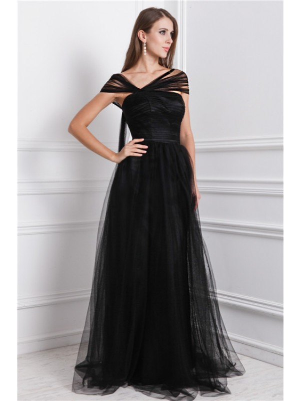 Brilliant A-Line Bateau Cut Net Long Dresses With Ruffles