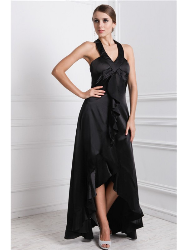 Gorgeous A-Line Bateau Cut Silk like Satin High Low Dresses With Ruffles