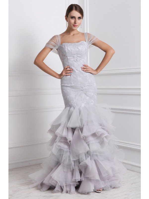 Delicate Mermaid Straps Cut Organza Long Dresses With Ruffles