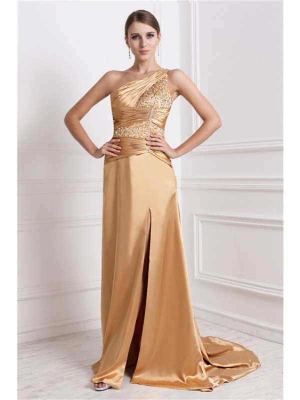 Bright A-Line One-Shoulder Cut Elastic Woven Satin Long Dresses With Beading