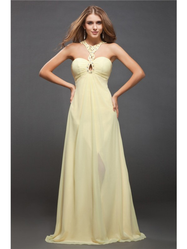Soft Sheath Halter Cut Chiffon Long Dresses With Beading