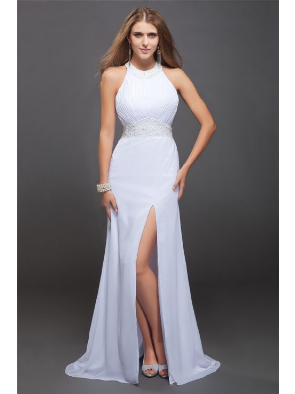 Modern Sheath Jewel Cut Chiffon Long Dresses With Beading