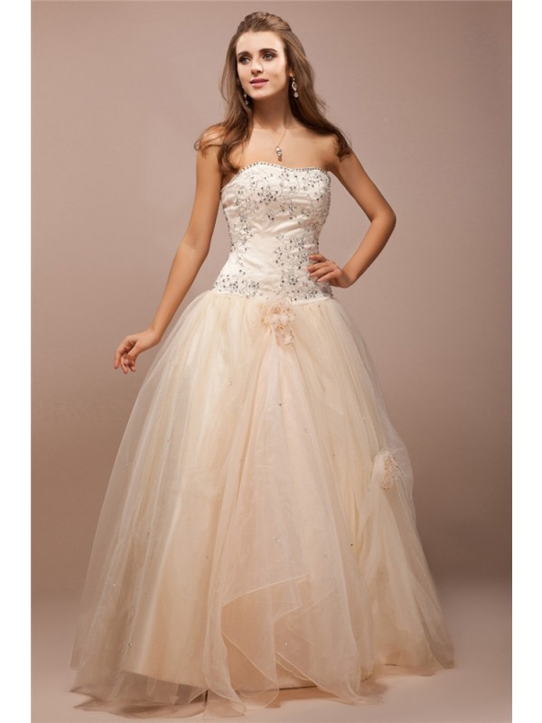 Popular Ball Gown Strapless Cut Satin Long Dresses With Beading