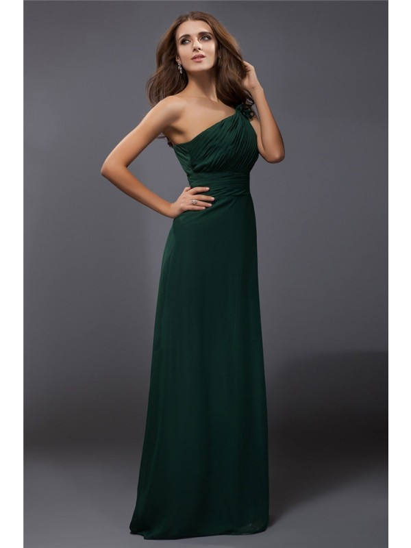 Awesome Sheath One-Shoulder Cut Chiffon Long Dresses With Ruffles
