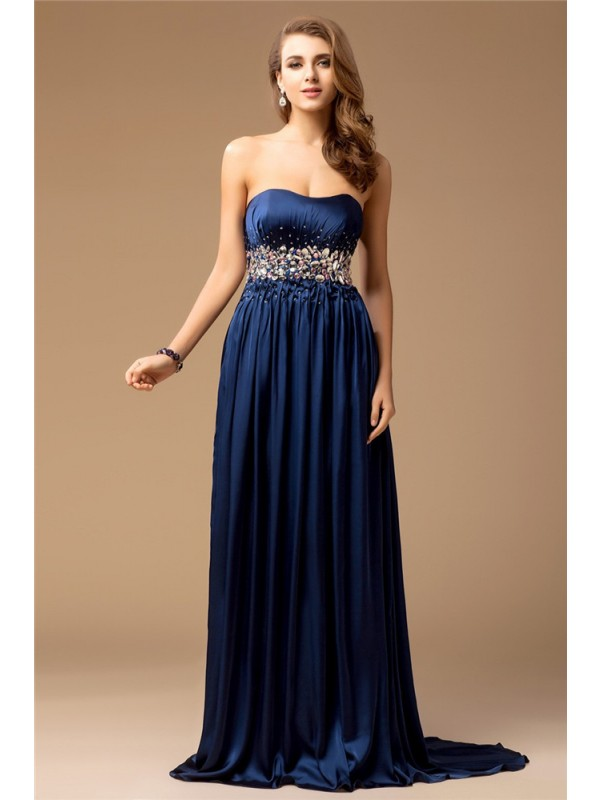 Exquisite Sheath Strapless Cut Silk like Satin Long Dresses With Rhinestone