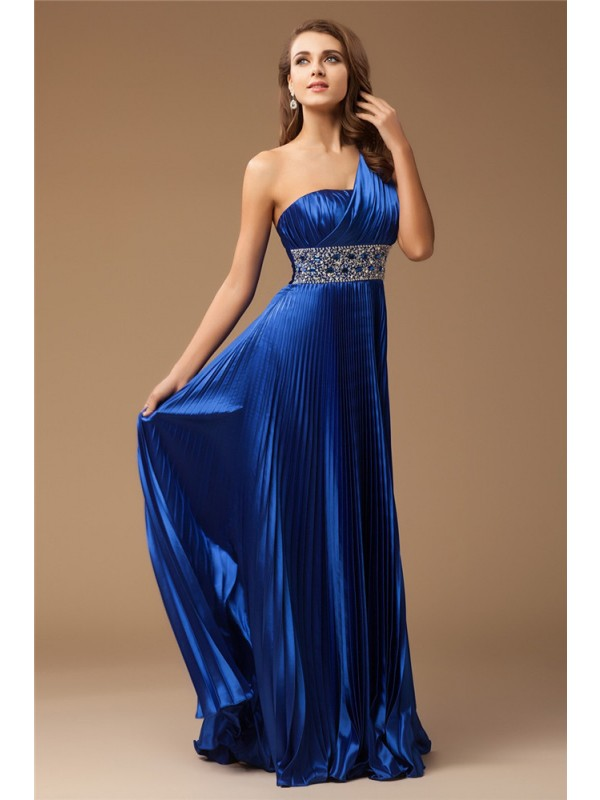 Unique Sheath One-Shoulder Cut Elastic Woven Satin Long Dresses With Beading