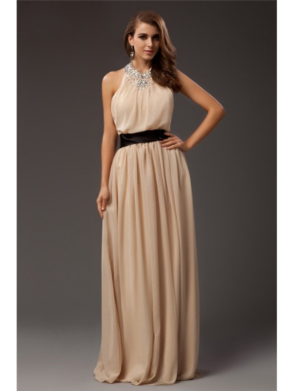 Graceful Sheath Jewel Cut Chiffon Long Dresses With Beading