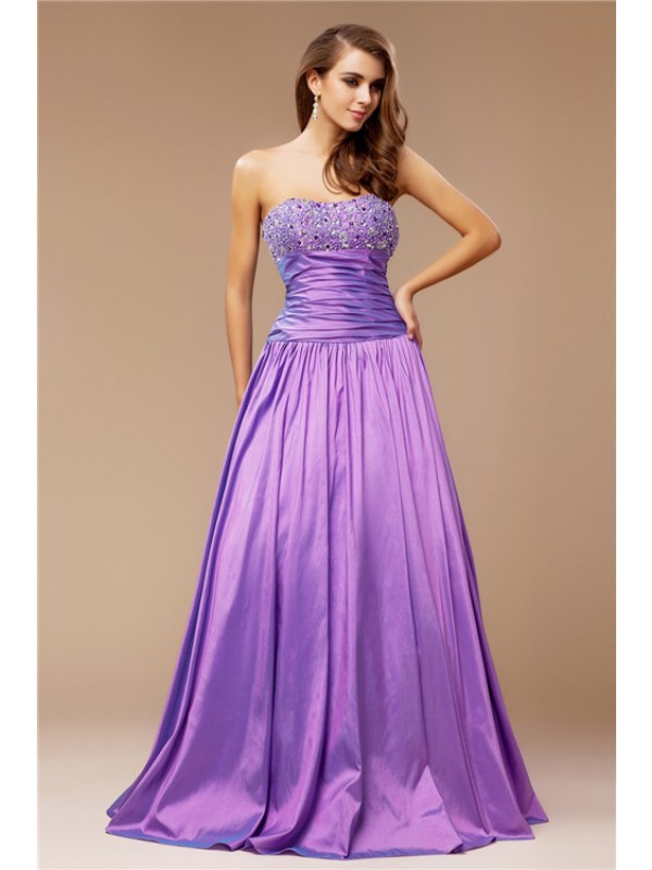 Popular A-Line Strapless Cut Taffeta Long Dresses With Beading