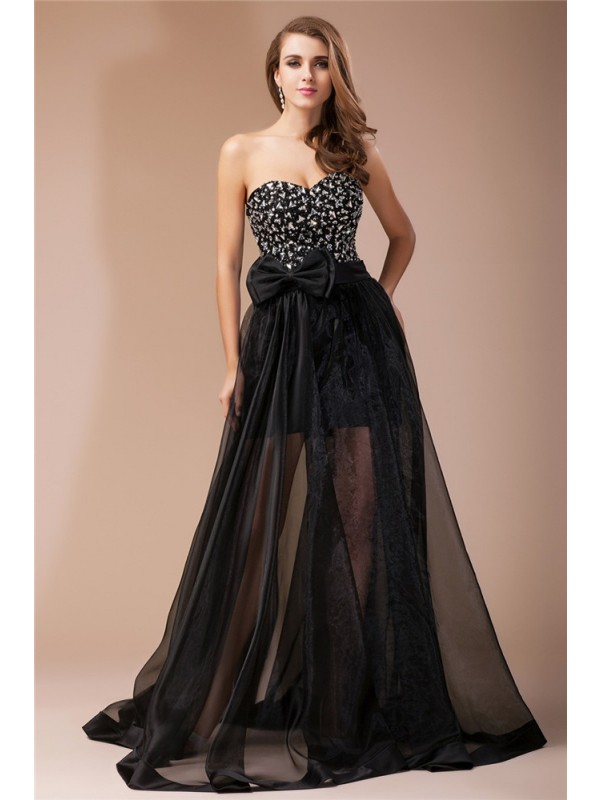 Stunning Sheath Sweetheart Cut Organza Long Dresses With Beading