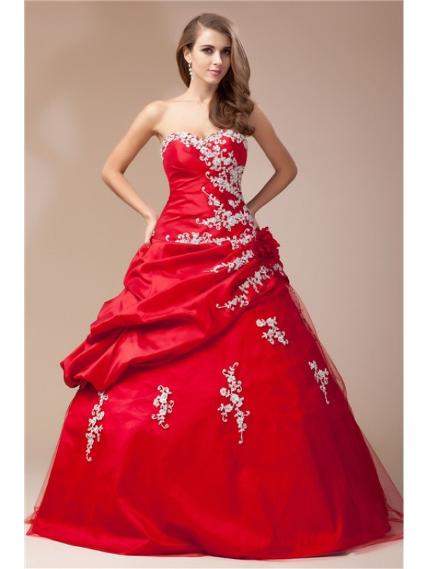 Trendy Ball Gown Sweetheart Cut Taffeta Long Dresses With Beading