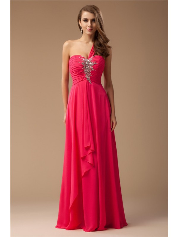 Pretty Sheath One-Shoulder Cut Chiffon Long Dresses With Beading