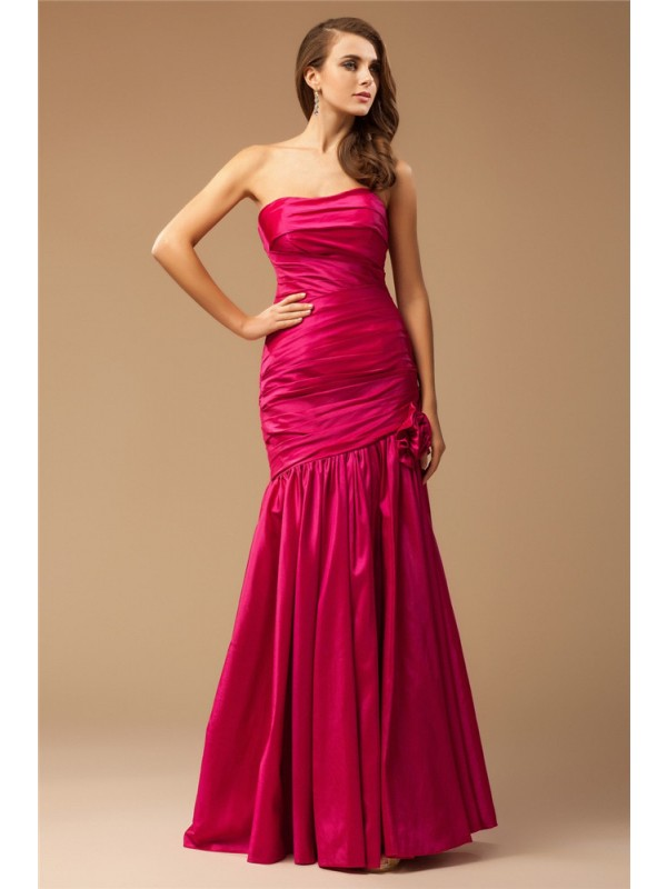 Gorgeous Mermaid Strapless Cut Taffeta Long Dresses With Ruffles