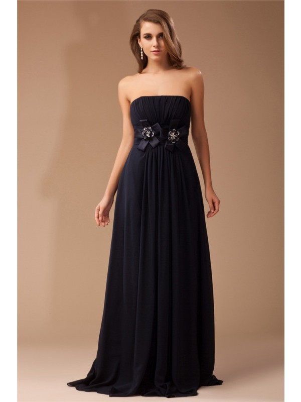 Attractive Sheath Strapless Cut Chiffon Long Dresses With Ruffles