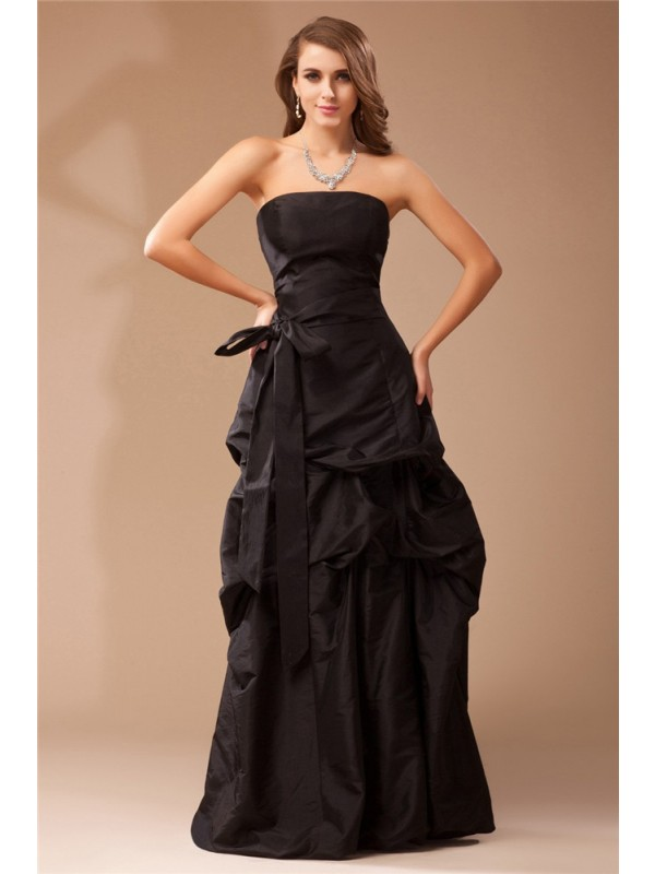 Special A-Line Strapless Cut Taffeta Long Dresses With Ruffles