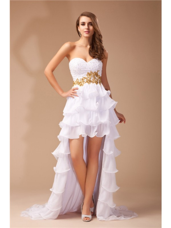 Charming A-Line Sweetheart Cut Chiffon High Low Dresses With Beading