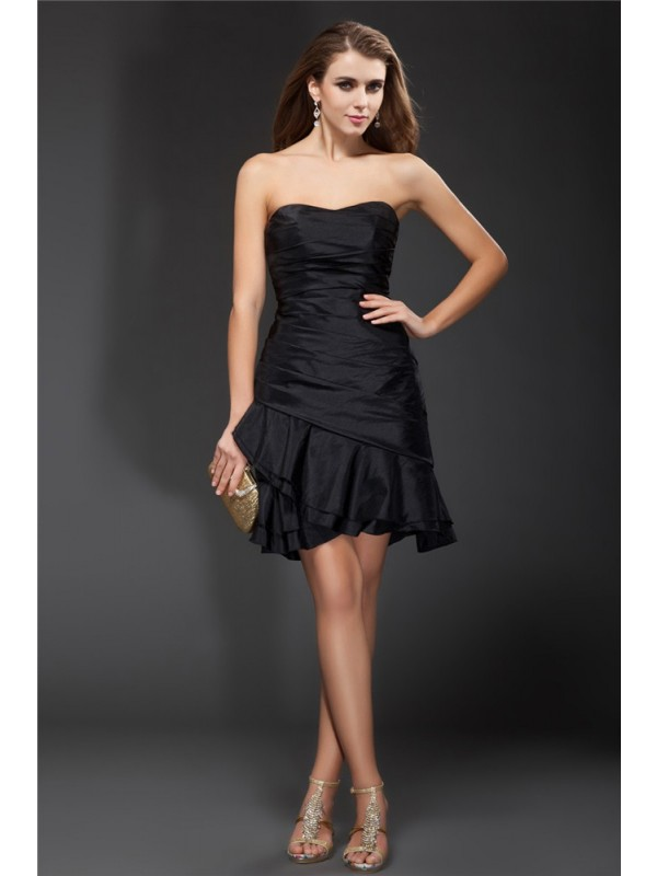Gorgeous A-Line Strapless Cut Taffeta Short Dresses With Ruffles