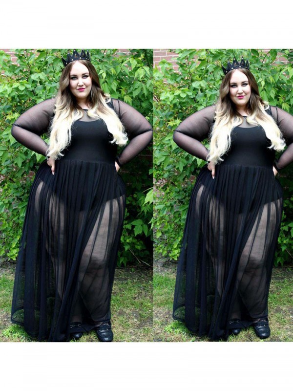 Glamorous A-Line Sheer Neck Cut Chiffon Long Plus Size Dresses With Ruched