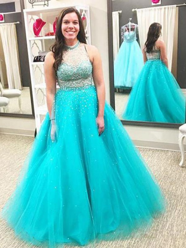 Trendy Ball Gown High Neck Cut Tulle Long Plus Size Dresses With Beading