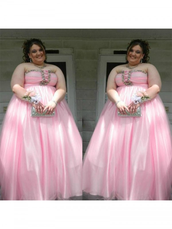 Charming A-Line Strapless Cut Satin Long Plus Size Dresses With Beading