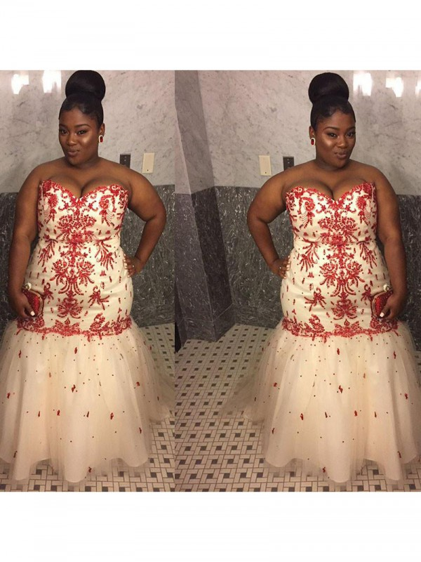 Shining Mermaid Sweetheart Cut Tulle Long Plus Size Dresses With Applique