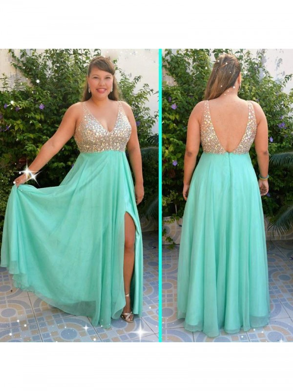 Awesome A-Line V-neck Cut Chiffon Long Plus Size Dresses With Beading