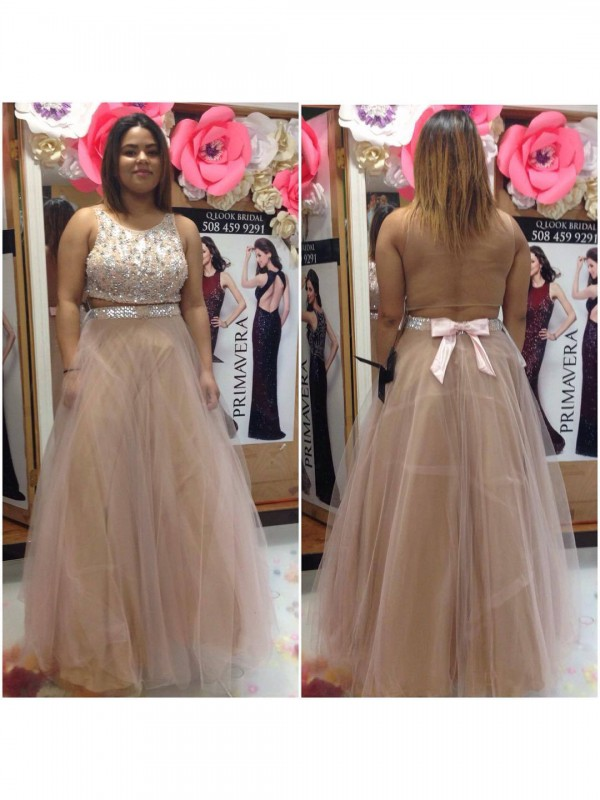 Attractive A-Line Scoop Cut Tulle Long Plus Size Dresses With Beading