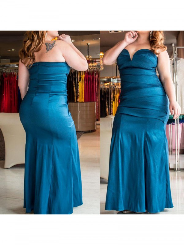 Romantic Mermaid Sweetheart Cut Elastic Woven Satin Long Plus Size Dresses With Ruched