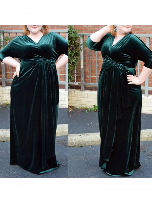 Shining Sheath V-neck Cut Velvet Long Plus Size Dresses With Ruched
