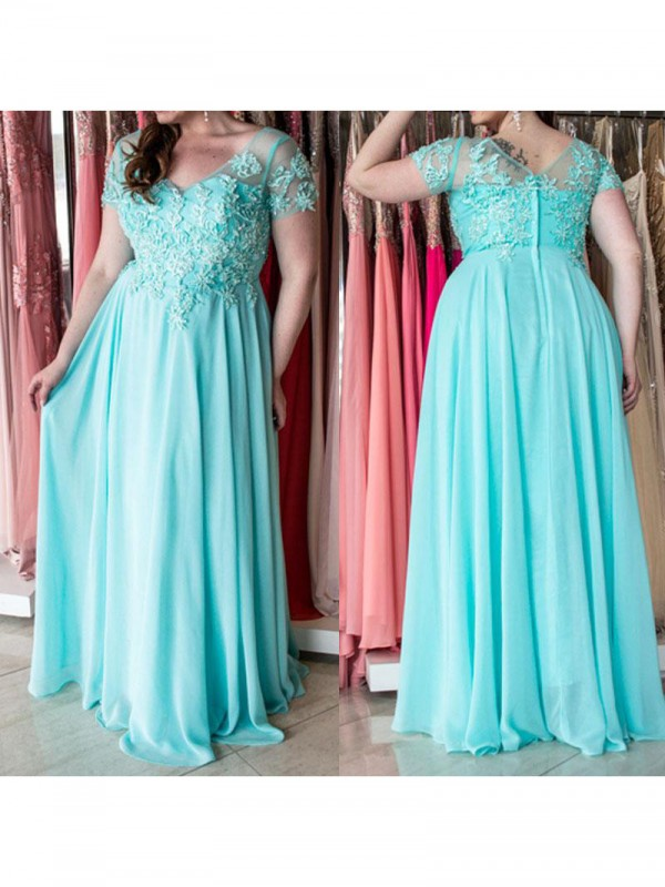 Bright A-Line Sweetheart Cut Chiffon Long Plus Size Dresses With Applique