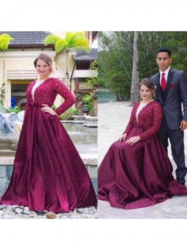 Trendy A-Line V-neck Cut Satin Long Plus Size Dresses With Beading