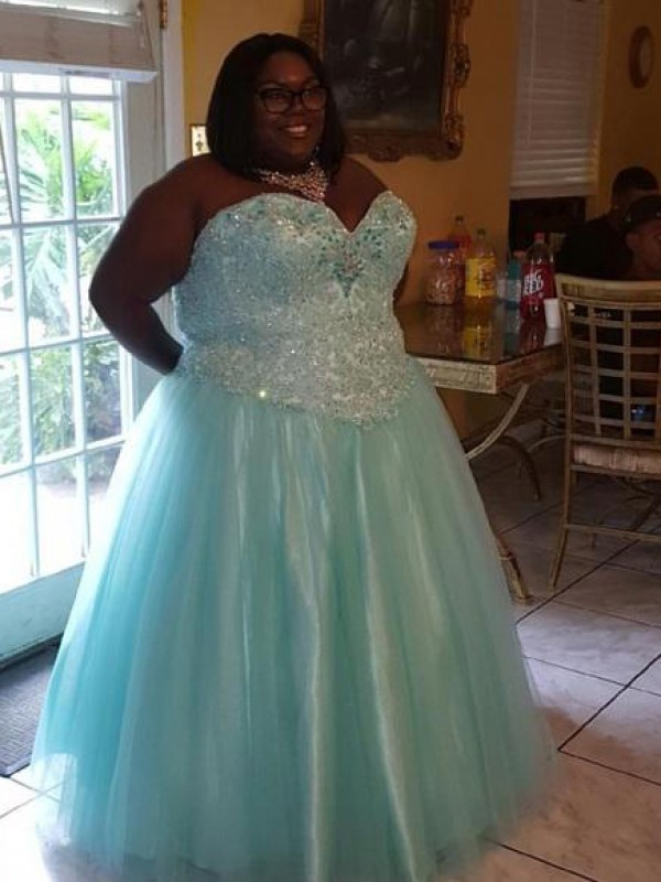 Exquisite Ball Gown Sweetheart Cut Organza Long Plus Size Dresses With Beading