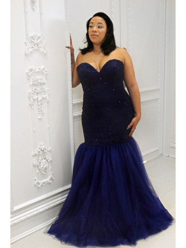 Modern Mermaid Sweetheart Cut Tulle Long Plus Size Dresses With Sequin