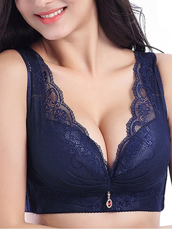 Charming Lace Rhinestone Back Closure Bras