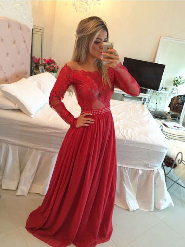 Shining A-Line Off-the-Shoulder Cut Chiffon Long Dresses With Applique