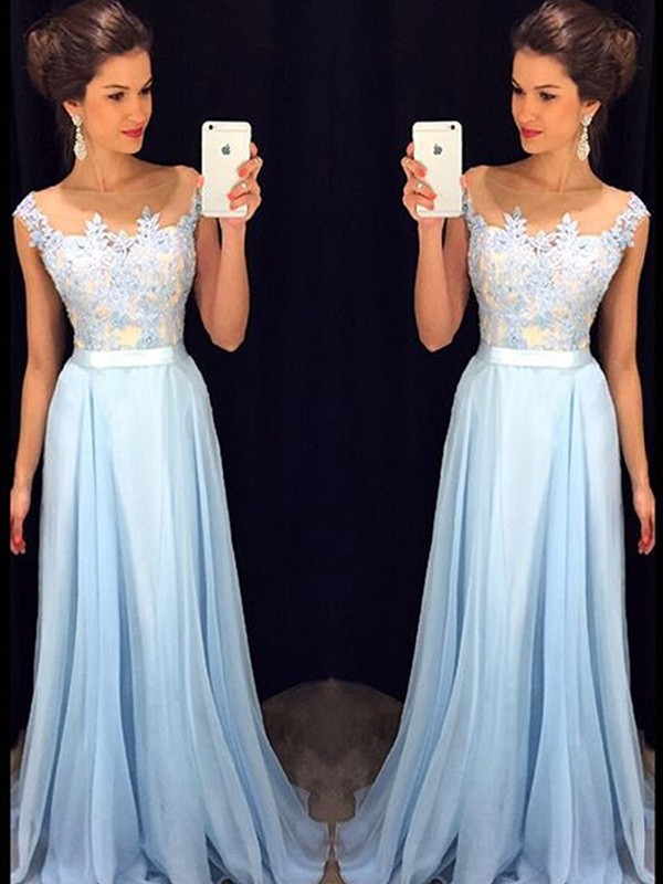 Bright A-Line Sheer Neck Cut Chiffon Long Dresses With Applique
