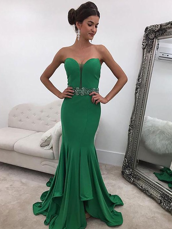 Smart Mermaid Sweetheart Cut Satin Long Dresses With Ruffles