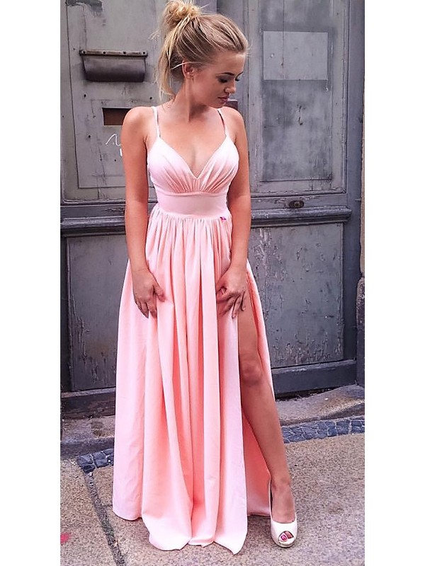 Hot A-Line Straps Cut Chiffon Long Dresses With Ruched